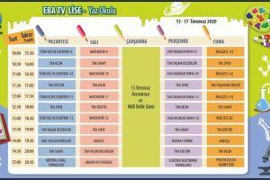 Eba Tv Yaz Okulu 13- 17 Temmuz Haftalık Programı